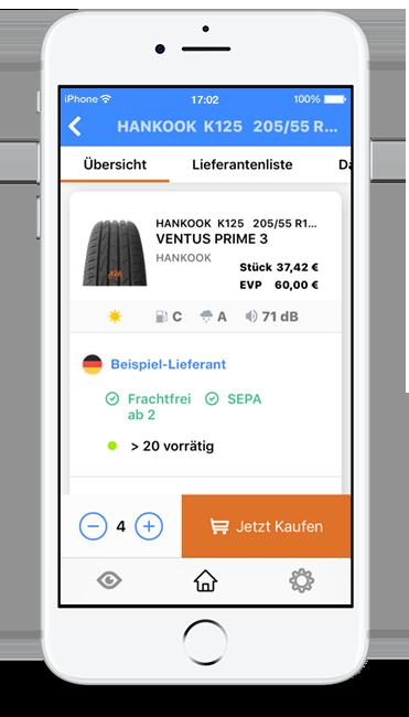 Die Tyre24 Reifen-App